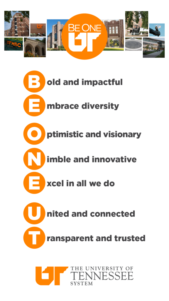 Be One UT phone background with photos from campuses across the UT System and the UT system values