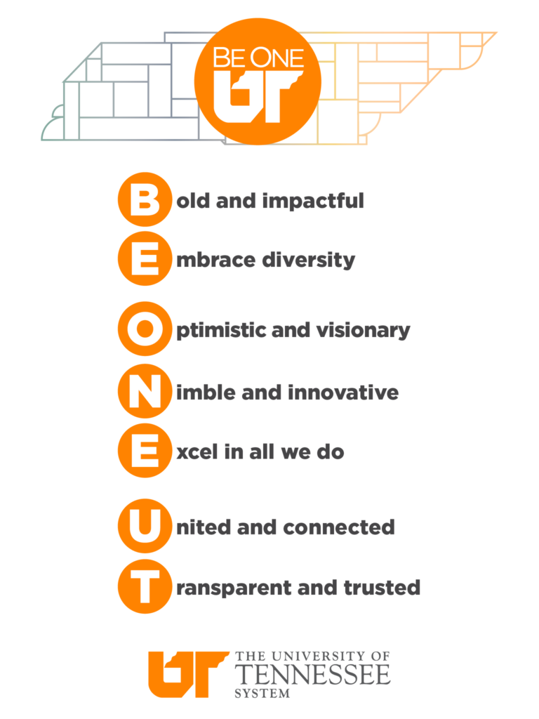 Be One UT tablet background with an illustration of the state of Tennessee and the UT system values