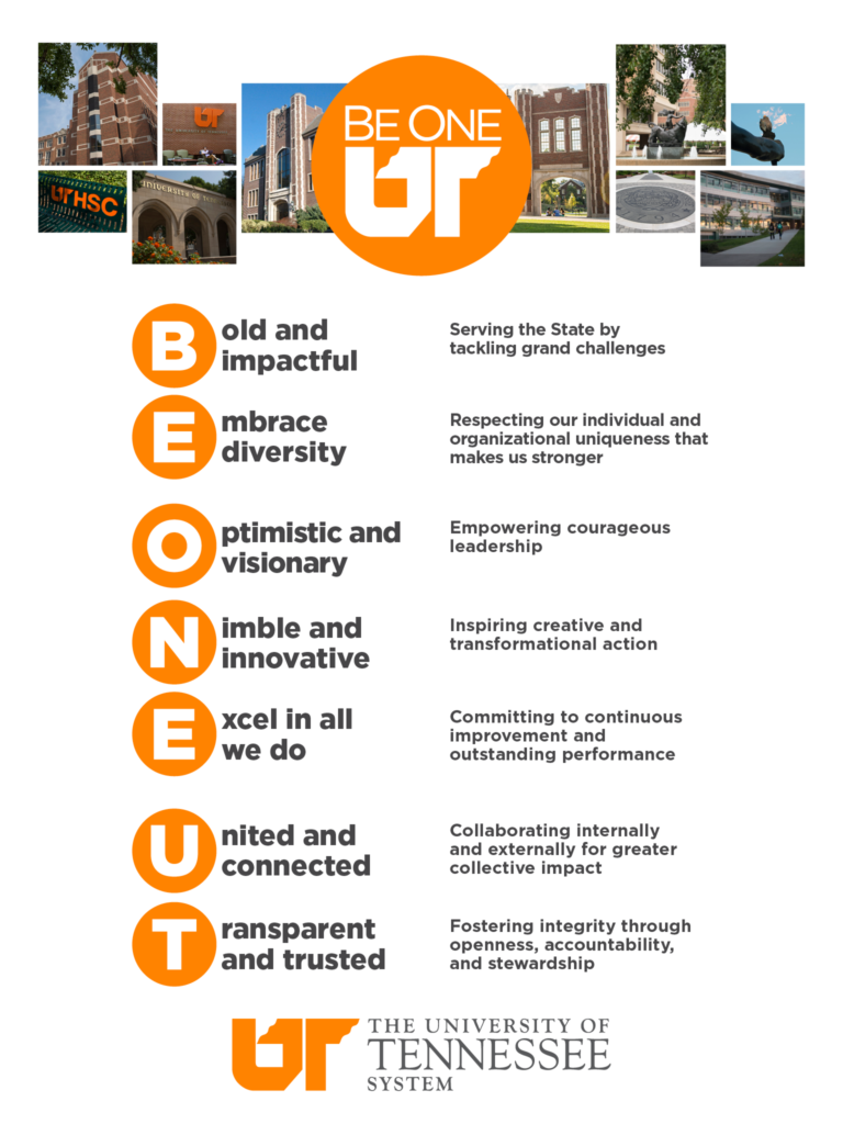 Be One UT tablet background with photos from campuses across the UT System and details of the UT system values