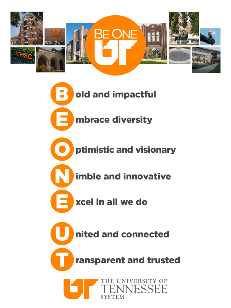 Be One UT tablet background with photos from campuses across the UT System and the UT system values